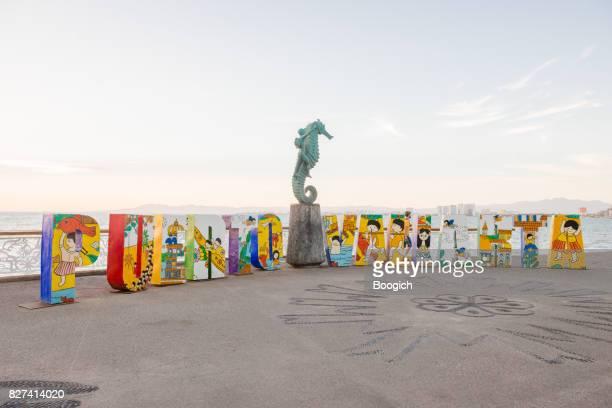 Puerto Vallarta Mexico Sign on Malecon at Sunset