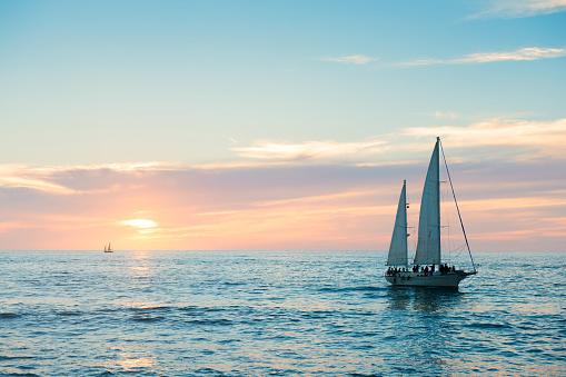 Puerto Vallarta Sailboat in Pacific Ocean at Sunset Mexico 821002720