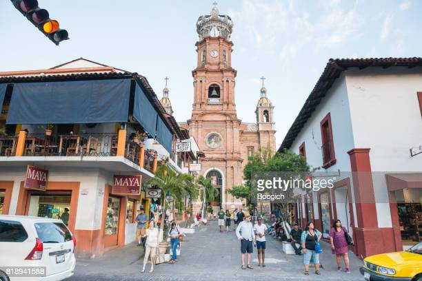 puerto vallarta travel destination cathedral and street scene - basilica of our lady of guadalupe stock pictures, royalty-free photos & images