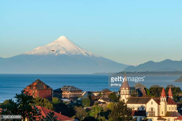 puerto varas at dusk - patagonia chile stock photos and pictures