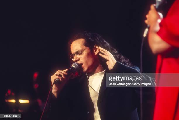 Puerto-Rican American Latin, Salsa, Tropical, and R&B singer Marc Anthony performs during Marlboro Music's 'Combinacion Perfecta' concert at Madison...