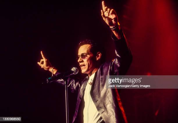 Puerto-Rican American Latin, Salsa, Tropical, and R&B singer Marc Anthony performs at Madison Square Garden, New York, New York, October 3, 1999.