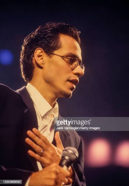 Puerto-Rican American Latin, Salsa, Tropical, and R&B singer Marc Anthony performs during his 'Off to Broadway' concert at Madison Square Garden, New...