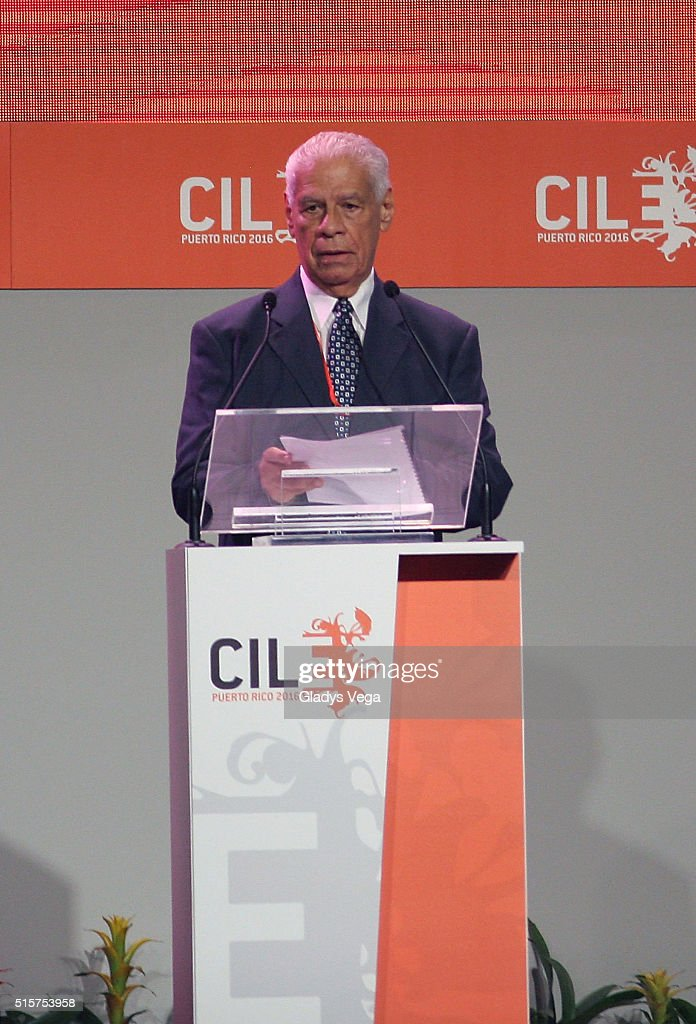 Puertorican author Luis Rafael Sanchez talks as part of Inauguration Act of VII Congreso Internacional de la Lengua Espanola (CILE 2016) at Puerto Rico Convention Center on March 15, 2016 in San Juan, Puerto Rico.