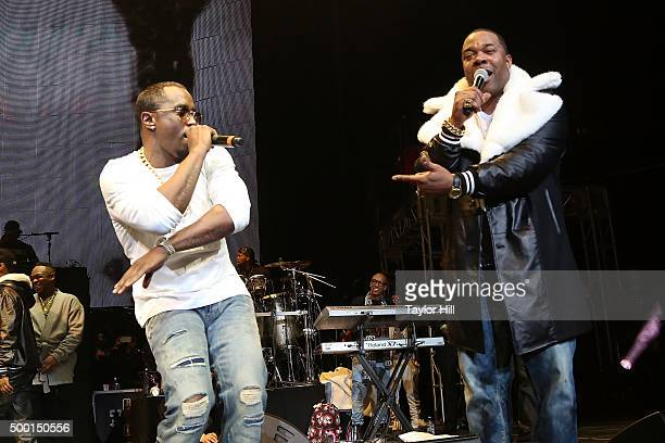 """Puff Daddy and Busta Rhymes perform during Hot 97's """"Busta Rhymes And Friends: Hot For The Holidays"""" concert at Prudential Center on December 5, 2015..."""
