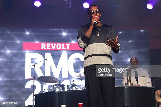 Puff Daddy and CEO of Motown Records Andre Harrell onstage at the closing gala of the 2015 Revolt Music Conference at Fontainebleau Miami Beach on...