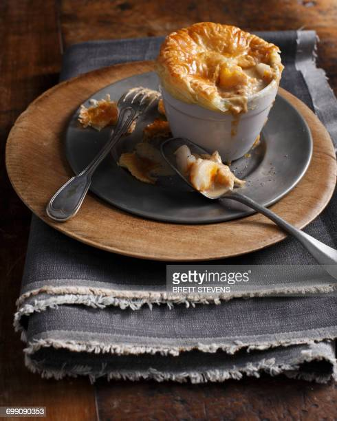 puff pastry smoked fish pie - savoury food stock photos and pictures