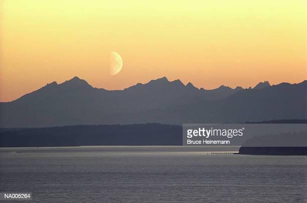 Puget Sound Moonset - Washington
