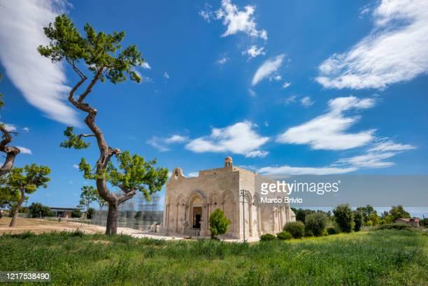 puglia apulia italy. manfredonia, basilica of santa maria di siponto - marco brivio stock pictures, royalty-free photos & images
