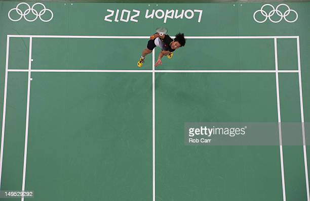 Pui Yin Yip of Hong Kong China competes in her Women's Singles Badminton match against Ji Hyun Sung of Korea on Day 3 of the London 2012 Olympic...