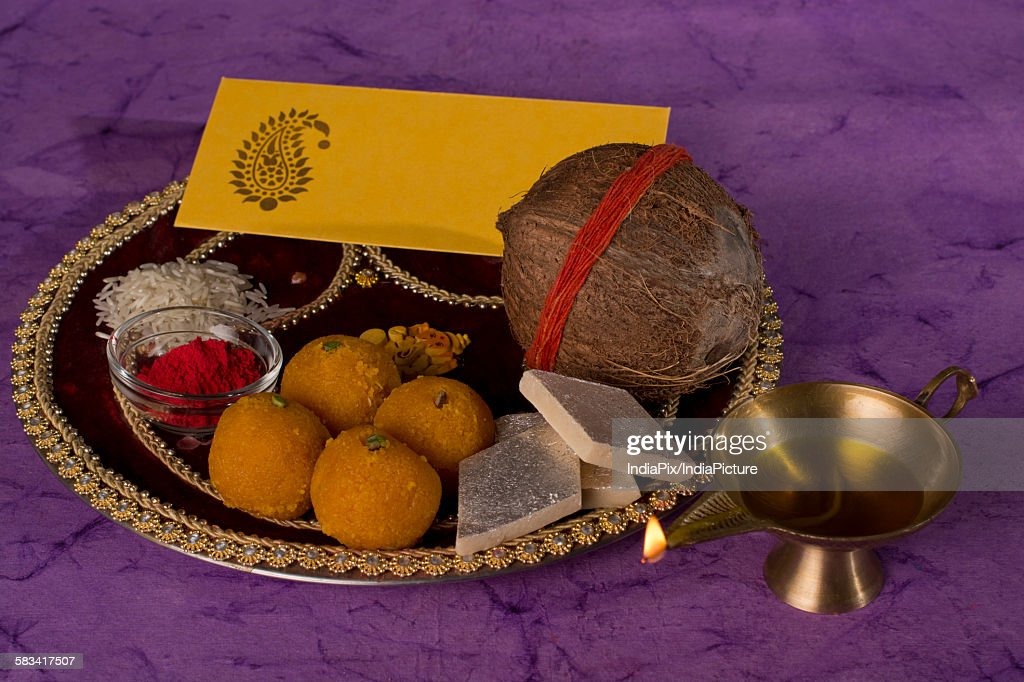 Puja thali : Stock Photo