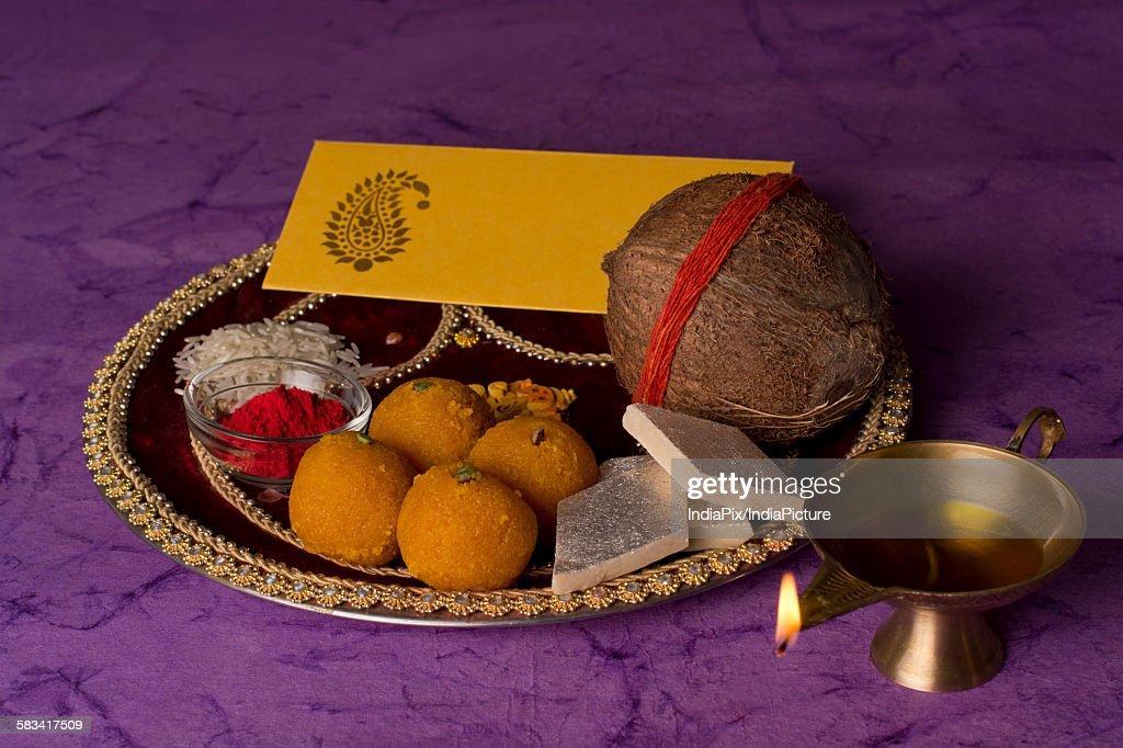 Puja thali : Stock Photo
