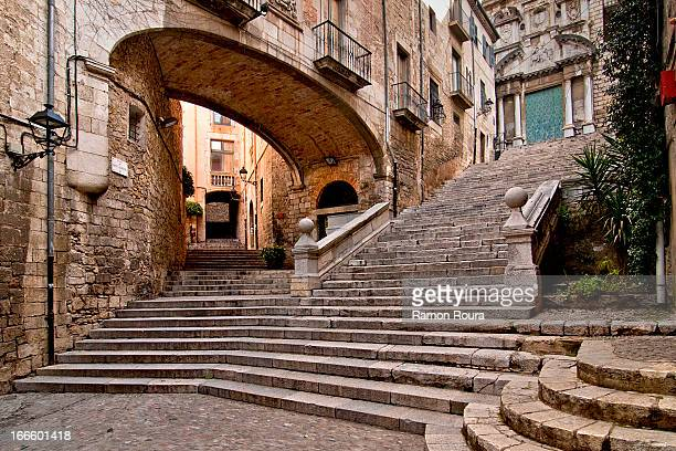 pujada de sant domènec - girona stock photos and pictures