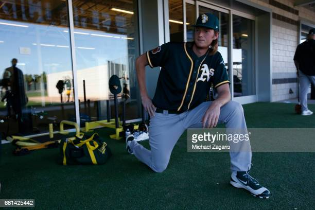 J Puk number one draft pick of the Oakland Athletics relaxes prior to a workout at Fitch Park on February 23 2017 in Mesa Arizona