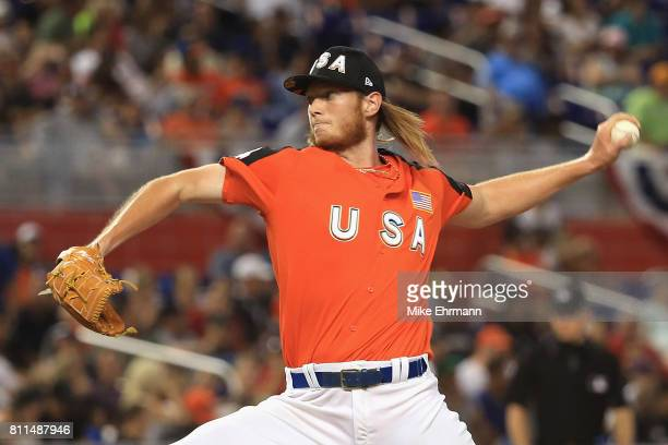 J Puk of the Oakland Athletics and the US Team pitches in the ninth inning against the World Team during the SiriusXM AllStar Futures Game at Marlins...