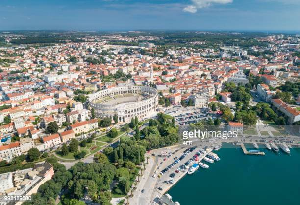 pula arena amphitheatre, croatia - amphitheatre stock photos and pictures
