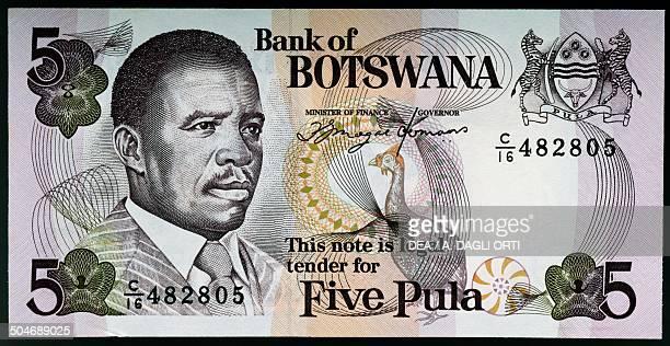 5 pula banknote 19901999 obverse depicting Quett Ketumile Joni Masire Botswana 20th century