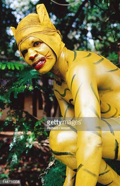 Pulikkali (tiger dance) performer at Onam festival celebration.