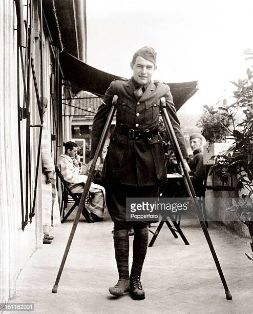 Pulitzer Prize and Nobel Prize winning author Ernest Hemingway convalescing in Italy in April 1919 after being seriously wounded during World War One...