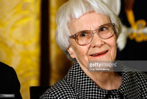 "Pulitzer Prize winner and ""To Kill A Mockingbird"" author Harper Lee smiles before receiving the 2007 Presidential Medal of Freedom in the East Room..."