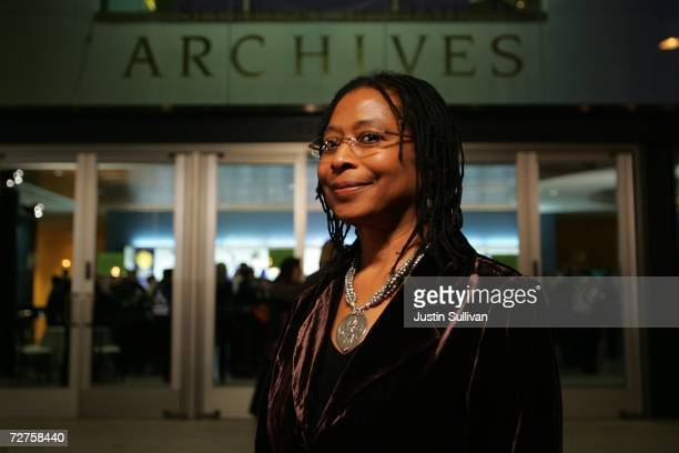 Pulitzer Prizewinning author Alice Walker arrives at the induction ceremony for the California Hall of Fame December 6 2006 in Sacramento California...