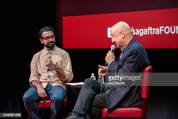 Pulkit Datta and Anupam Kher discuss 'New Amsterdam' during SAGAFTRA Foundation Conversations at The Robin Williams Center on October 9 2018 in New...