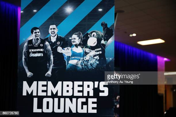 A pull up banner of the Breakers Memeber's Lounge is seen prior to the round two NBL match between the New Zealand Breakers and the Sydney Kings at...