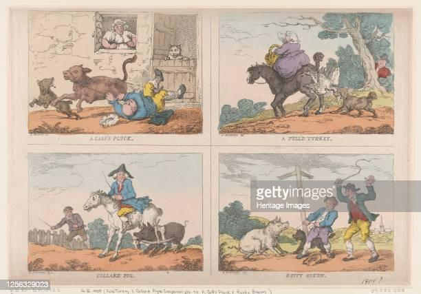 Pull'd Turkey, Collard Pig, A Calf's Pluck and Rusty Bacon, 1807. Artist Thomas Rowlandson.