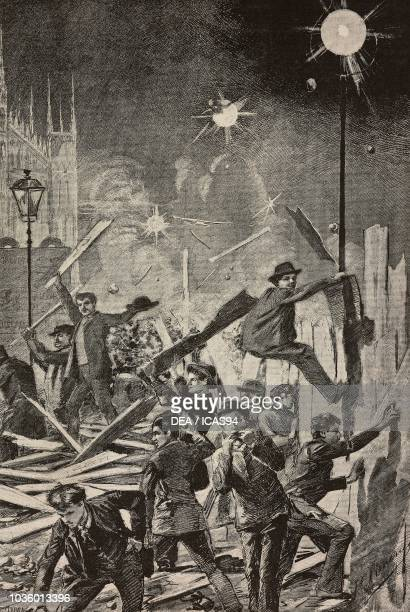 Pulling down the fence in Piazza del Duomo unrest during a strike in Milan Italy drawing by Edoardo Ximenes engraving from L'Illustrazione Italiana...