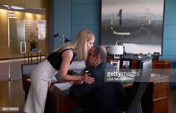 SUITS 'Pulling the Goalie' Episode 714 Pictured Amanda Schull as Katrina Bennett Rick Hoffman as Louis Litt