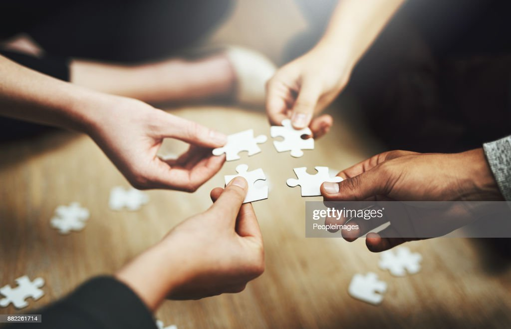 Pulling together to solve a problem : Stock Photo