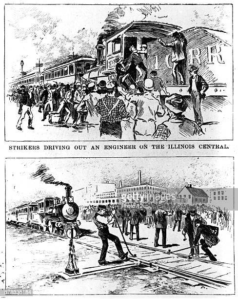 strikers Driving Out an Engineer on the Illinois Central 1894