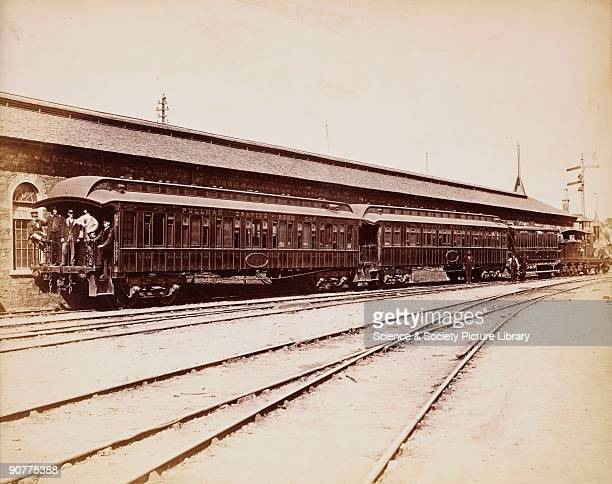 Pullman train pulled by an 0-6-0 locomotive. The train, which has a �Drawing Room Car� is taking its passengers on a tour of England and Scotland....