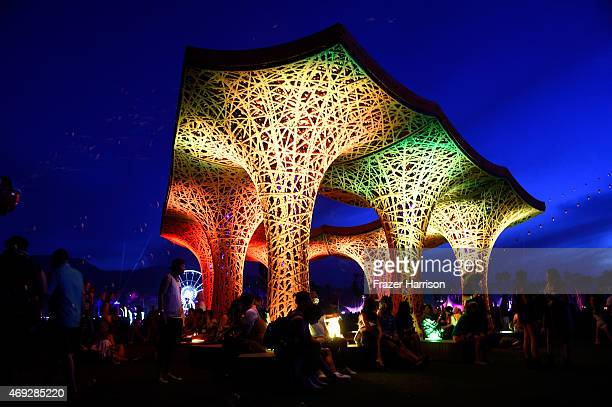 Pulp Pavilion art installation by BallNogues Studio is seen during day 1 of the 2015 Coachella Valley Music Arts Festival at the Empire Polo Club on...