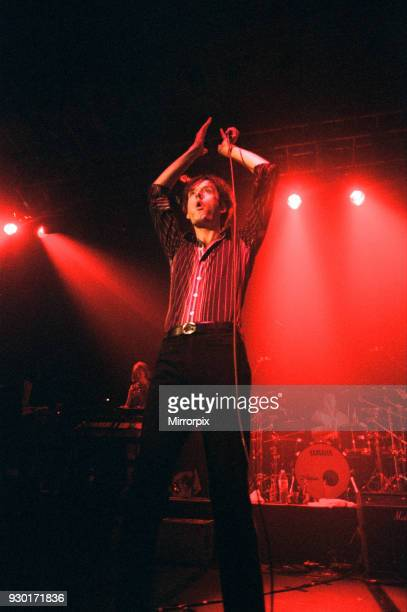 Pulp play the Clickimin Centre, Shetland, 13th August 1996. Lead Singer, Jarvis Cocker.