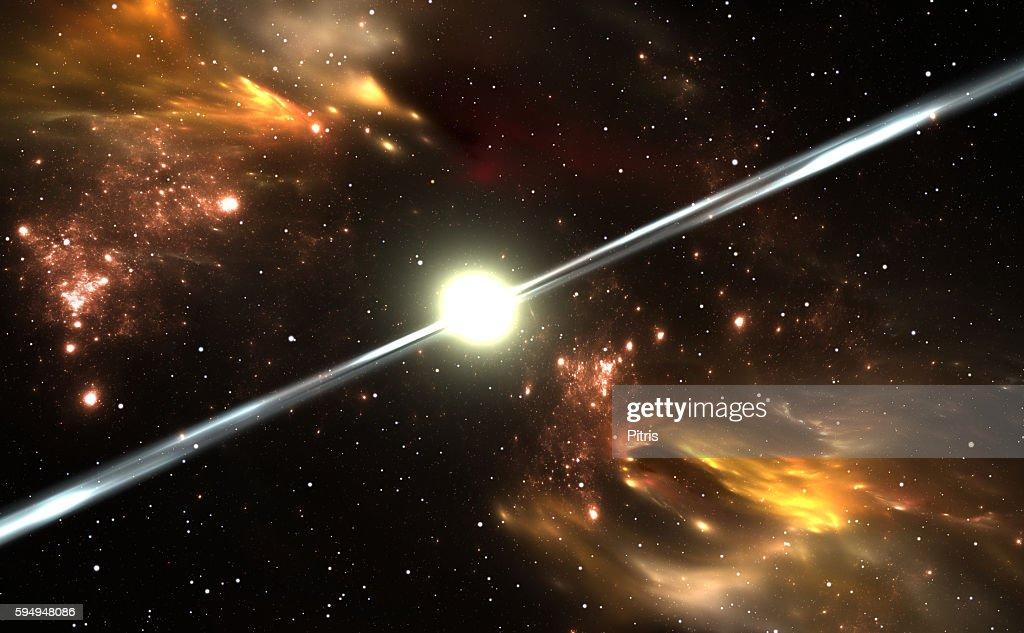 Pulsar highly magnetized, rotating neutron star : Stock Photo