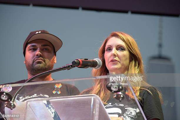 Pulse nightclub owner Barbara Poma with entertainment manager Neema Bahrami on stage at pier 26 A day of action that included a transgender rights...