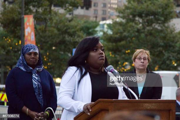 Pulse Nightclub shooting survivor Tiara Parker speaks on stage during a vigil for the Las Vegas mass shooting victims in Center City Philadelphia PA...