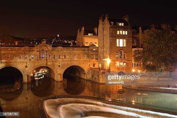 Pulteney Bridge and River Avon at night, Bath, England