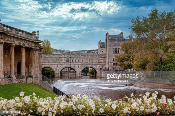 pulteney bridge and surrounding area - somerset england stock pictures, royalty-free photos & images