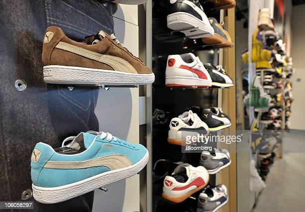 Puma AG sports shoes are seen at the company's headquarters in Herzogenaurach Germany on Tuesday Oct 26 2010 Puma AG Europe's secondlargest...