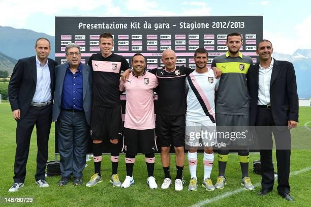 Puma Italy General Manager Andrea Rogg, US Citta di Palermo Sport Manager Giorgio Perinetti, Josip Ilicic, Fabrizio Miccoli, Giuseppe Sannino, Franco...