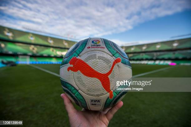 Puma match ball of La Liga during the La Liga Santander match between Real Betis Sevilla v Real Madrid at the Estadio Benito Villamarin on March 8,...