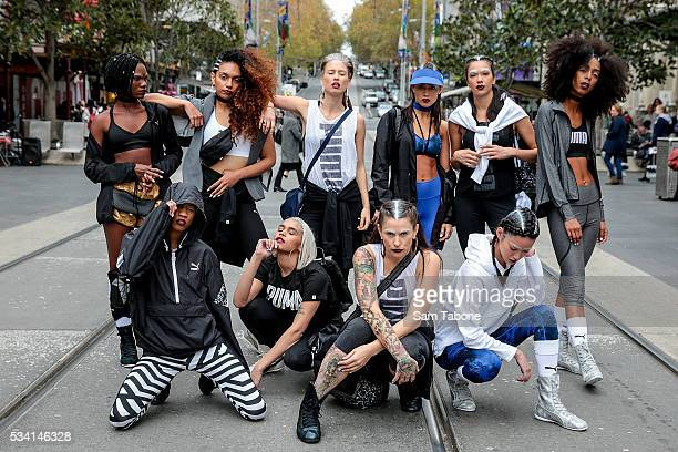 Puma Models Photo Shoot around the Melbourne CBD before the Puma Flagship store launch at Melbourne Central on May 25 2016 in Melbourne Australia