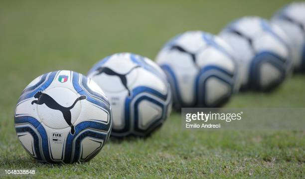 Puma official balls are seen during the International Friendly match between Italy Women and Sweden Women at Stadio Giovanni Zini on October 9 2018...