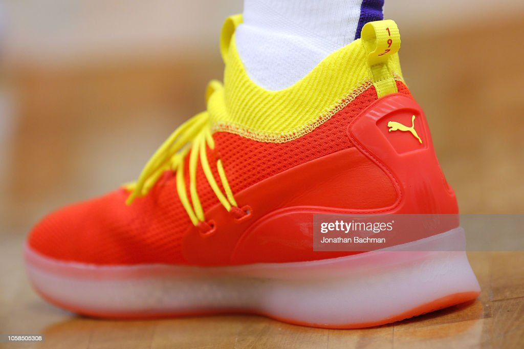 86e6f3957b4 Puma shoes are seen worn by Marvin Bagley III of the Sacramento ...