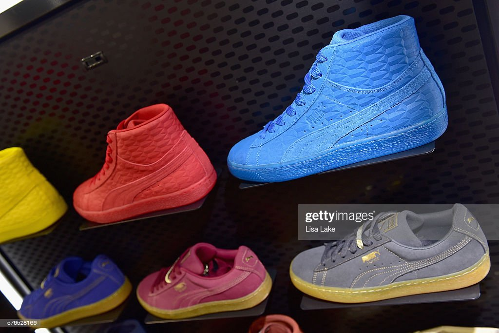 8ae88f28df26 ... Puma sneakers on display at the Meek Mill debut of Dreamchasers x PUMA  Collab at New ...