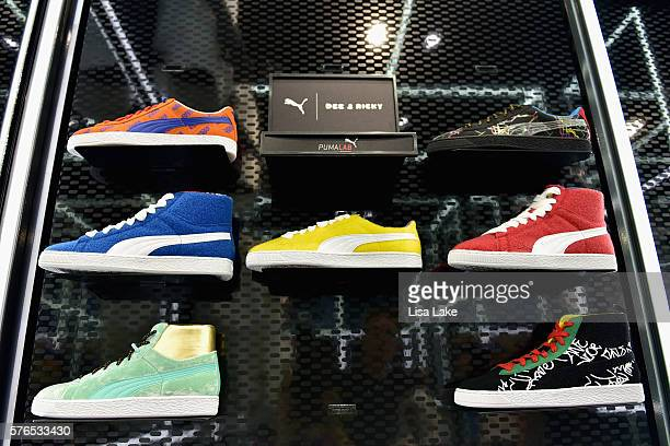 5e5fd28adaa19a Puma sneakers on display at the Meek Mill Debut of Dreamchasers x PUMA  Collab at New. Meek Mill Visits New Puma Lab Powered By Foot Locker ...