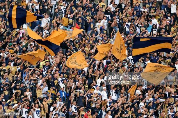 Pumas' fans cheer for their team during the match against America during their quarter final, first leg, Mexican Clausura tournament football match...