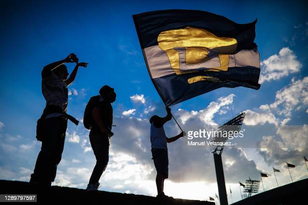 Pumas fans cheer prior to the semifinal second leg match between Pumas UNAM and Cruz Azul as part of the Torneo Guard1anes 2020 Liga MX at Olimpico...